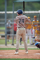 DJ Radtke (24) during the WWBA World Championship at Lee County Player Development Complex on October 11, 2020 in Fort Myers, Florida.  DJ Radtke, a resident of Marietta, Georgia who attends Blessed Trinity Catholic High School, is committed to Auburn.  (Mike Janes/Four Seam Images)