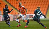 Blackpool's Jordan Lawrence-Gabriel <br /> <br /> Photographer Dave Howarth/CameraSport<br /> <br /> EFL Trophy - Northern Section - Group G - Blackpool v Leeds United U21 - Wednesday 11th November 2020 - Bloomfield Road - Blackpool<br />  <br /> World Copyright © 2020 CameraSport. All rights reserved. 43 Linden Ave. Countesthorpe. Leicester. England. LE8 5PG - Tel: +44 (0) 116 277 4147 - admin@camerasport.com - www.camerasport.com