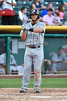 Garrett Weber (7) of the Reno Aces at bat against the Salt Lake Bees in Pacific Coast League action at Smith's Ballpark on July 23, 2014 in Salt Lake City, Utah.  (Stephen Smith/Four Seam Images)