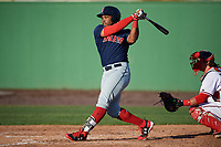 Salem Red Sox right fielder Kyri Washington (21) at bat during the first game of a doubleheader against the Potomac Nationals on May 13, 2017 at G. Richard Pfitzner Stadium in Woodbridge, Virginia.  Potomac defeated Salem 6-0.  (Mike Janes/Four Seam Images)