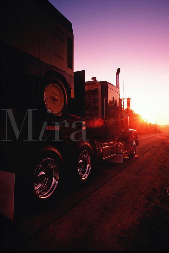 Semi truck on the road.