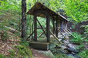 Nepalese Bridge in Randolph, New Hampshire during the summer months. Originally built in 1968 for the town of Randolph, this bridge crosses Carlton Brook at Mossy Glen.