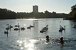 Serpentine Swimming Club. Serpentine Lido, Hyde Park Lake, London Uk. 2016