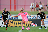 Allie Long (10) of Sky Blue FC passes the ball. The Western New York Flash defeated Sky Blue FC 2-0 during a Women's Professional Soccer (WPS) match at Yurcak Field in Piscataway, NJ, on July 17, 2011.