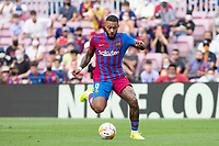 26th September 2021;   Nou Camp, Barcelona, Spain: La Liga football, FC Barcelona versus Levante: Memphis Depay of Barcelona breaks forward on the ball