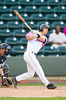Joey DeMichele (18) of the Winston-Salem Dash follows through on his swing against the Wilmington Blue Rocks at BB&T Ballpark on April 20, 2013 in Winston-Salem, North Carolina.  The Dash defeated the Blue Rocks 4-2 in game one of a double-header.  (Brian Westerholt/Four Seam Images)