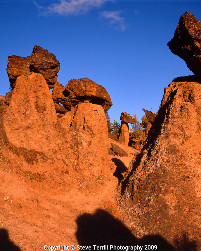 The Balancing Rocks in late day sun in Jefferson County, Oregon