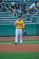 Preston Palmeiro (3) of the Salt Lake Bees during the game against the Tacoma Rainiers at Smith's Ballpark on May 16, 2021 in Salt Lake City, Utah. The Bees defeated the Rainiers 8-7. (Stephen Smith/Four Seam Images)