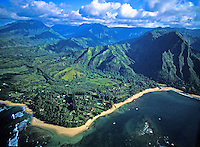 Stunning aerial of Kauai's lush north coastline, featuring Kee and Haena beaches.