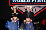 Shiloh Thomison, Dakota Johnson, during the Team Roping Back Number Presentation at the Junior World Finals. Photo by Andy Watson. Written permission must be obtained to use this photo in any manner.