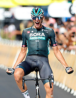 8th July 2021; Nimes, France;  POLITT Nils (GER) of BORA - HANSGROHE celebrates the win during stage 12 of the 108th edition of the 2021 Tour de France cycling race, a stage of 159,4 kms between Saint-Paul-Trois-Chateaux and Nimes.