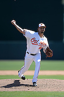 Baltimore Orioles pitcher Chaz Roe (65) during a Spring Training game against the Tampa Bay Rays on March 14, 2015 at Ed Smith Stadium in Sarasota, Florida.  Tampa Bay defeated Baltimore 3-2.  (Mike Janes/Four Seam Images)