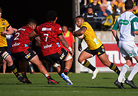 Ngani Laumape takes the ball up during the Super Rugby Aotearoa match between the Hurricanes and Crusaders at Sky Stadium in Wellington, New Zealand on Sunday, 11 April 2020. Photo: Dave Lintott / lintottphoto.co.nz