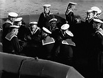 Lentships returned from Russia to USA: 14 ships, which had been lent ti the Soviets by the USA during the second World War II, were returned by the Soviets on Saturday at Kiel. Photo shows Russian crew; 1955