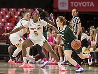 COLLEGE PARK, MD - FEBRUARY 03: Taryn McCutcheon #4 of Michigan State dribbles past Kaila Charles #5 of Maryland during a game between Michigan State and Maryland at Xfinity Center on February 03, 2020 in College Park, Maryland.