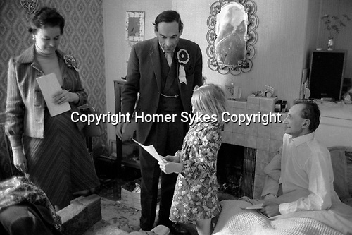 """""""Thorpe works for us."""" Jeremy Thorpe on the election campaign trail mid Devon constituency 1979 with his wife Marion. Visiting sick constituent."""