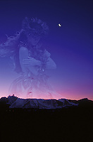 Hula dancer and twilight scene with cresent moon morphed image at Haleakala crater on Maui