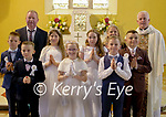 Photo 1<br /> St. Josephs NS Castlemaine pupils who received their First Holy Communion in Keel church on Saturday <br /> Back row left to right<br /> Brendy Murphy (teacher), Tricia Begley, Fr Kevin Sullivan<br /> <br /> Middle L to R: Tomás Ryan, Marie Gesswein, Dawn Teahan (student of Killtallagh NS), John Murphy<br /> <br /> Front L to R: Ryan Giles, Kara Long, Noah Costello Reilly<br /> <br /> Photo credits: Yvonne Weafer