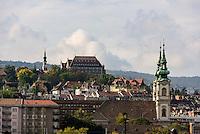 Bliick von Pest auf das Budaer Donauufer mit St. Anna-Kirche, Szt.Anna templon, Budapest, Ungarn, UNESCO-Weltkulturerbe