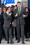 King Felipe VI of Spain (r) with the President of the Community of Castilla La Mancha Emiliano Garcia-Page during the visit to the facilities of the Spanish sportswear company JOMA Sports. January 19, 2018. (ALTERPHOTOS/Acero)