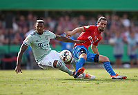 18.08.2018, Football DFB Pokal 2018/2019, 1. round, SV Drochtersen Assel - FC Bayern Muenchen, Kehdinger stadium Drochtersen.  Jerome Boateng (Bayern Muenchen)  -  and Marcel Andrijanic (SV Drochtersen-Assel)<br /><br /><br />***DFB rules prohibit use in MMS Services via handheld devices until two hours after a match and any usage on internet or online media simulating video foodaye during the match.*** *** Local Caption *** © pixathlon<br /> <br /> Contact: +49-40-22 63 02 60 , info@pixathlon.de