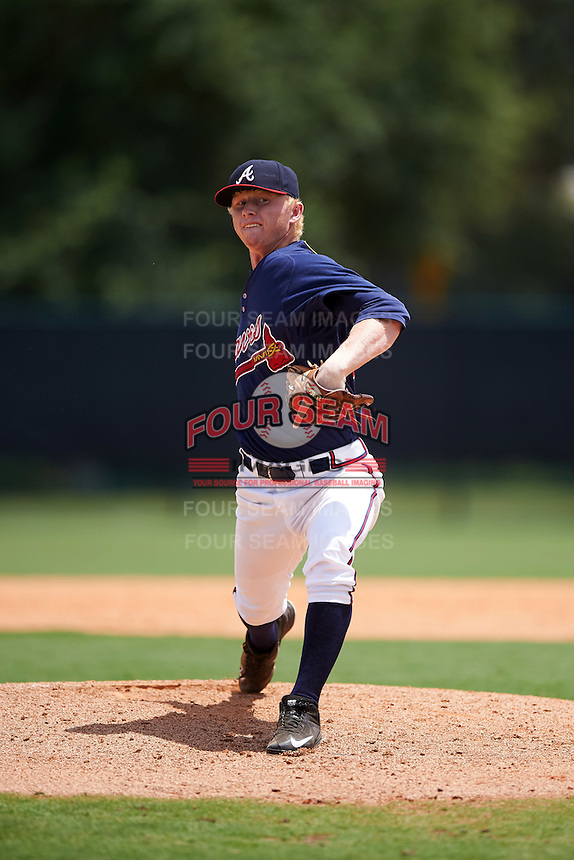 GCL Braves relief pitcher Tyler Greene (34) during a game against the GCL Blue Jays on August 5, 2016 at ESPN Wide World of Sports in Orlando, Florida.  GCL Braves defeated the GCL Blue Jays 9-0.  (Mike Janes/Four Seam Images)