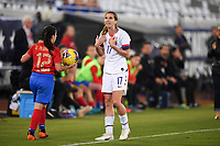JACKSONVILLE, FL - NOVEMBER 10: Tobin Heath #17 of the United States gestures to the referee during a game between Costa Rica and USWNT at TIAA Bank Field on November 10, 2019 in Jacksonville, Florida.
