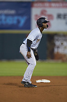 Josh Stowers (21) of the Charleston RiverDogs takes his lead off of second base against the Hickory Crawdads at L.P. Frans Stadium on August 10, 2019 in Hickory, North Carolina. The RiverDogs defeated the Crawdads 10-9. (Brian Westerholt/Four Seam Images)