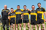Members of the Gardai on the Dr Crokes squad after winning the Kerry County Intermediate Hurling Championship Final at Austin Stack Park in Tralee on Sunday, from left: Paul Downey, Mentor,  Mark Heffernan, Jamie Lenihan, Mike Milner Captain, Brendan McMahon and Colm Ó Cuiv.