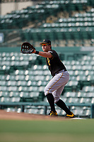 Pittsburgh Pirates first baseman Mason Martin (25) during a Florida Instructional League game against the Baltimore Orioles on September 22, 2018 at Ed Smith Stadium in Sarasota, Florida.  (Mike Janes/Four Seam Images)