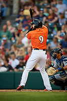 Richmond Flying Squirrels left fielder Matt Lipka (9) at bat in front of catcher Chace Numata (6) during a game against the Trenton Thunder on May 11, 2018 at The Diamond in Richmond, Virginia.  Richmond defeated Trenton 6-1.  (Mike Janes/Four Seam Images)