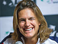 Arena Loire,  Trélazé,  France, 13 April, 2016, Semifinal FedCup, France-Netherlands, Press-conference French, team, Captain Amelie Mauresmo<br /> Photo: Henk Koster/Tennisimages