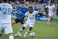 SAN JOSE, CA - MAY 15: Yimmi Chara #23 of the Portland Timbers controls the ball during a game between San Jose Earthquakes and Portland Timbers at PayPal Park on May 15, 2021 in San Jose, California.