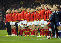 Wales players sing their national anthem the Wales v France, 2016 RBS 6 Nations Championship, at the Principality Stadium, Cardiff, Wales, UK
