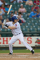 Round Rock Express shortstop Brendan Harris (6) at bat against the Oklahoma City RedHawks during the Pacific Coast League baseball game on August 25, 2013 at the Dell Diamond in Round Rock, Texas. Round Rock defeated Oklahoma City 9-2. (Andrew Woolley/Four Seam Images)