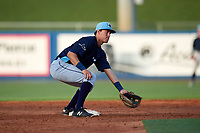 Charlotte Stone Crabs second baseman Tristan Gray (9) during the first game of a doubleheader against the St. Lucie Mets on April 24, 2018 at First Data Field in Port St. Lucie, Florida.  St. Lucie defeated Charlotte 5-3.  (Mike Janes/Four Seam Images)