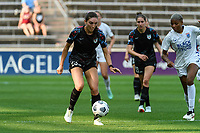 BRIDGEVIEW, IL - JULY 18: Tatumn Milazzo #23 of the Chicago Red Stars plays the ball during a game between OL Reign and Chicago Red Stars at SeatGeek Stadium on July 18, 2021 in Bridgeview, Illinois.