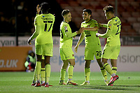 Dan Kemp of Leyton Orient scores the fourth goal for his team and celebrates with his team mates during Crawley Town vs Leyton Orient, Papa John's Trophy Football at The People's Pension Stadium on 5th October 2021