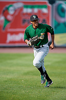 Clinton LumberKings left fielder Dimas Ojeda (33) during practice before a game against the West Michigan Whitecaps on May 3, 2017 at Fifth Third Ballpark in Comstock Park, Michigan.  West Michigan defeated Clinton 3-2.  (Mike Janes/Four Seam Images)