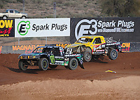 Dec. 11, 2011; Chandler, AZ, USA;  LOORRS pro 2 driver Jeremy McGrath (2) and Rob Naughton (54) during the Lucas Oil Challenge Cup at Firebird International Raceway. Mandatory Credit: Mark J. Rebilas-