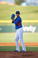 AZL Cubs 2 relief pitcher Chi-Feng Lee (34) during an Arizona League game against the AZL Reds on July 23, 2019 at Sloan Park in Mesa, Arizona. AZL Cubs 2 defeated the AZL Reds 5-3. (Zachary Lucy/Four Seam Images)