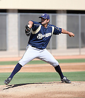Chase Wright of the Milwaukee Brewers plays in a spring training game against the Los Angeles Dodgers at the Brewers complex on April 2, 2011 in Phoenix, Arizona. .Photo by:  Bill Mitchell/Four Seam Images.