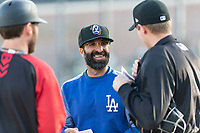 Rancho Cucamonga Quakes manager Mark Kertenian meets with home plate umpire Trevor Dannegger and Rawhide coach Nick Evans before a California League game against the Visalia Rawhide on April 9, 2019 in Visalia, California. Visalia defeated Rancho Cucamonga 8-5. (Zachary Lucy/Four Seam Images)