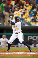 Montgomery Biscuits second baseman Hector Guevara (13) at bat during a game against the Jackson Generals on April 29, 2015 at Riverwalk Stadium in Montgomery, Alabama.  Jackson defeated Montgomery 4-3.  (Mike Janes/Four Seam Images)