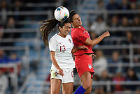 Saint Paul, MN - SEPTEMBER 03: Fátima Pinto #13 of Portugal and Carli Lloyd #10 of the United States during their 2019 Victory Tour match versus Portugal at Allianz Field, on September 03, 2019 in Saint Paul, Minnesota.