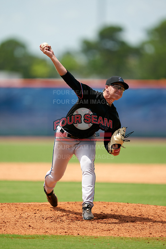 GCL Marlins pitcher Peyton Culbertson (64) during a Gulf Coast League game against the GCL Mets on August 11, 2019 at St. Lucie Sports Complex in St. Lucie, Florida.  The Marlins defeated the Mets 3-2 in the second game of a doubleheader.  (Mike Janes/Four Seam Images)