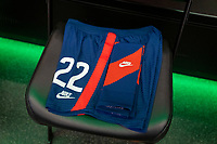 AUSTIN, TX - JUNE 16: The uniform of Kristie Mewis #22 sits in the USWNT locker room before a game between Nigeria and USWNT at Q2 Stadium on June 16, 2021 in Austin, Texas.