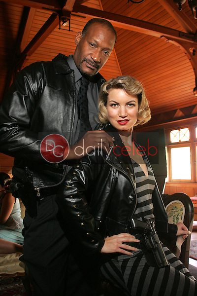 """Tony Todd and Rena Riffel<br />on the set of the upcoming feature film """"Dark Reel"""" slated for June 2007 release. Private Location, Altadena, CA. 11-15-06<br />Dave Edwards/DailyCeleb.com 818-249-4998<br />Exclusive"""