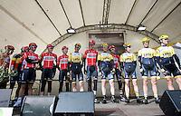 "the 2 ""Lotto"" World Tour teams together on the start podium: Team Lotto-Soudal & Team LottoNL-Jumbo<br /> <br /> 67th Kuurne-Brussels-Kuurne 2015"