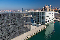 France, Bouches-du-Rhône (13), Marseille, capitale européenne de la culture en 2013, MuCEM (Musée des Civilisations de l'Europe et de la Méditerranée) de l'architecte Rudy Ricciotti,   et cathédrale La Major // France, Bouches du Rhone, Marseille, European capital of culture 2013, MuCEM (Museum of Civilization in Europe and the Mediterranean) by the architect Rudy Ricciotti,   Cathedral and The Major